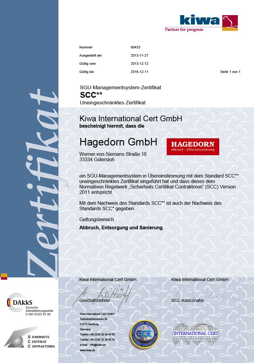 Certification company hagedorn unternehmensgruppe hagedorn gmbh obtained the unrestricted safety management system certificate scc vca scc safety certificate for contractors is an international 1betcityfo Gallery